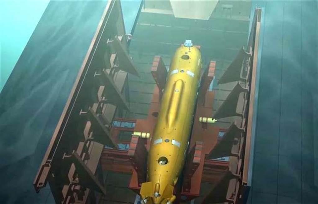 由潛艇上施放波塞無人核子潛航器波塞冬的概念圖。(圖/塔斯社)