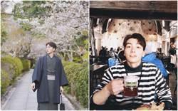 張洛偍帶爸媽去旅行 穿和服賞櫻被誤認是日本人