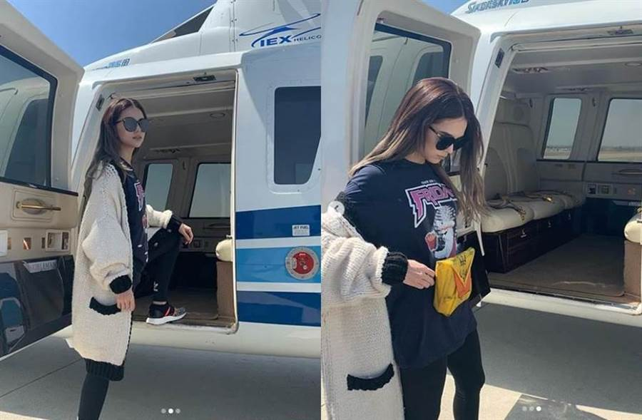 昆凌開心搭直升機上班。(圖/翻攝自IG)