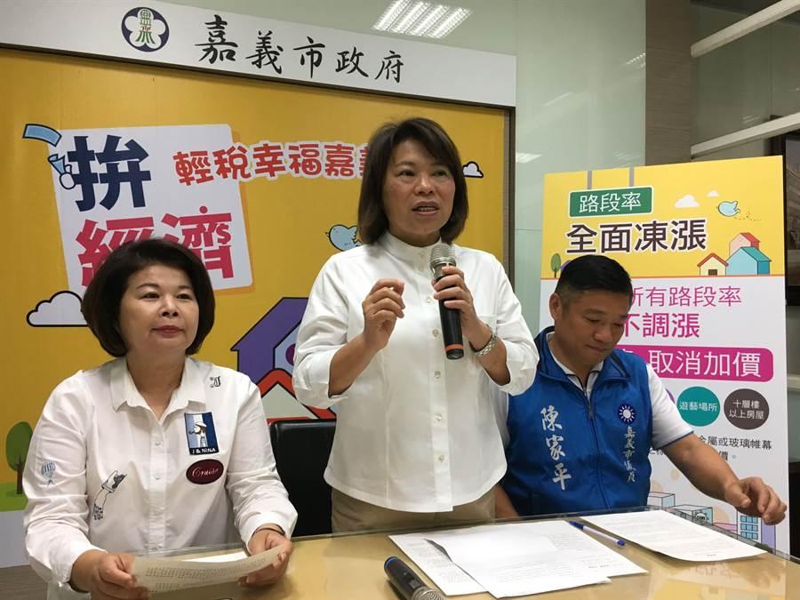 嘉義市拚經濟,市長黃敏惠(中)宣布調降新屋房稅。(廖素慧攝)