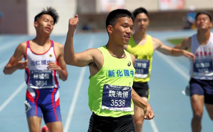 魏浩倫全中運最後一戰,國男組200公尺決賽以21秒49成績奪冠。(高市府教育局提供)