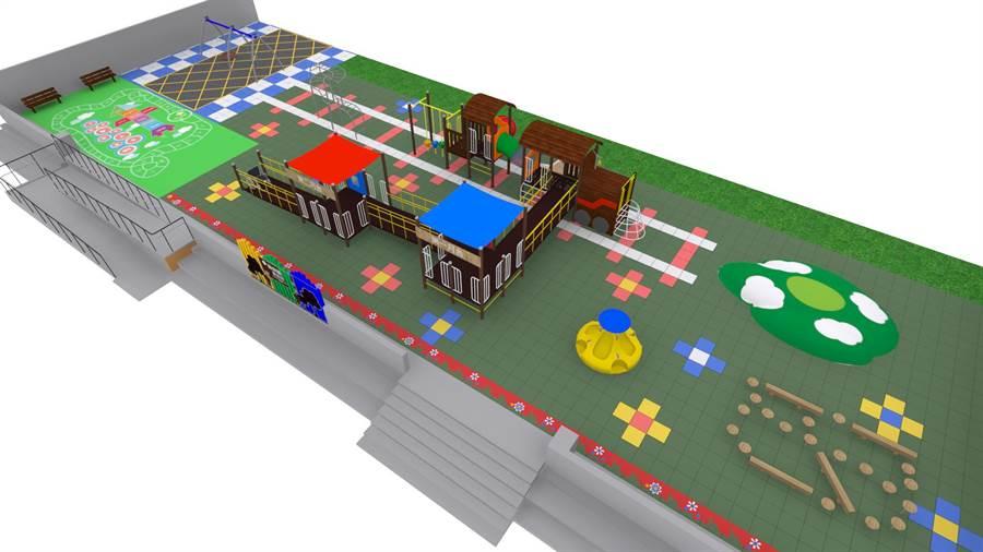 圓崇國小共融遊具設計以火車為主題,佔地600平方公尺。(圓崇國小提供)