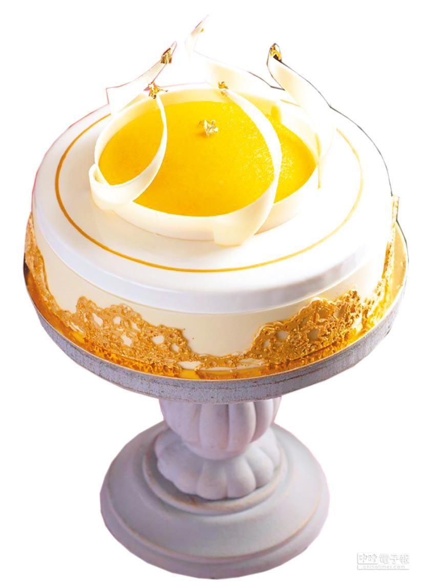 遠百「香格里拉台北遠東國際大飯店」摯愛之冠百香果芒果巧克力慕斯,最後訂購日為5月9日,須於前3天訂購,7吋、1688元。(遠百提供)