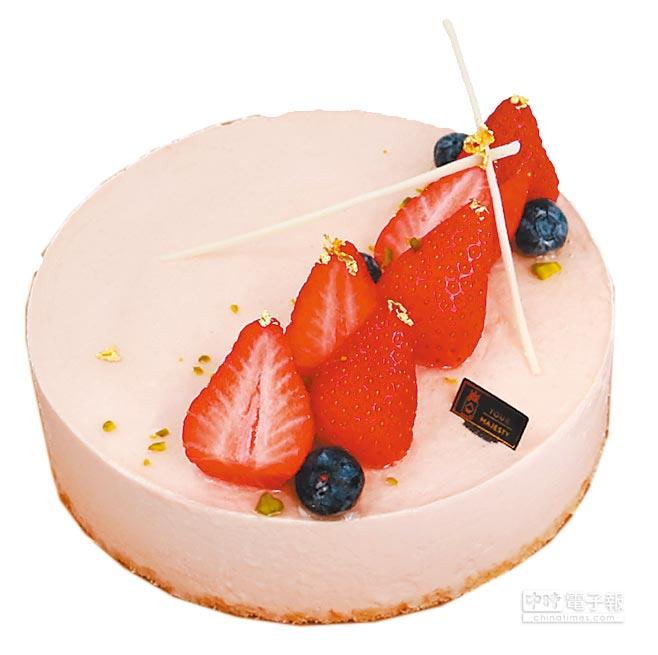 遠百「皇后陛下Your Majesty」粉紅淑女起司蛋糕,限寶慶遠百、板橋中山、板橋大遠百3店販售,約600g、1280元。(遠百提供)