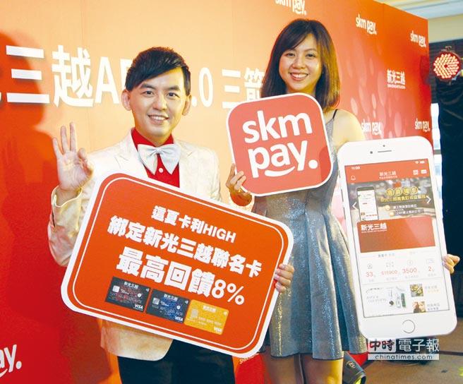 藝人黃子佼(左)和凱薩琳主持新光三越skm pay記者會。圖/新光三越提供