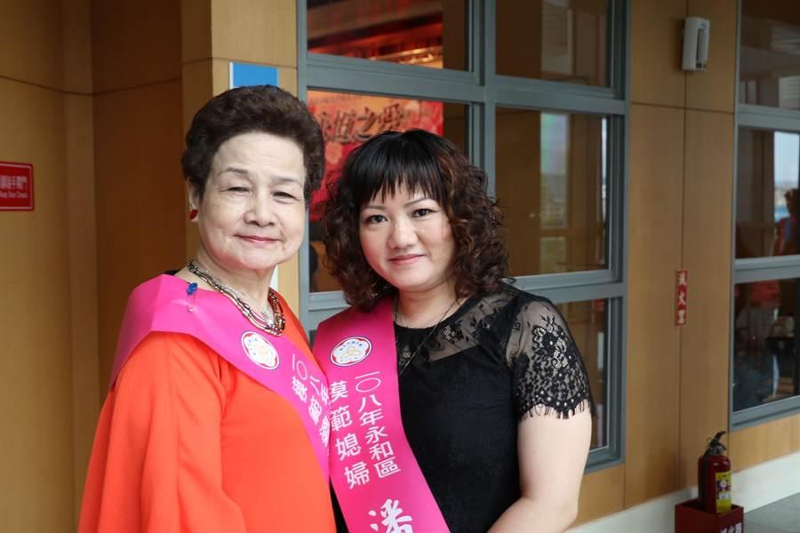 永和區蕭李碧桃、潘玉錢相互疼惜 當選新北市模範婆媳。(葉德正攝)