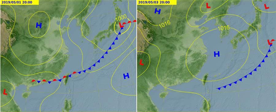 氣象局預測圖顯示,5月1日有鋒面影響台灣(左圖),3日已南移至巴士海峽(右圖)。(氣象局)