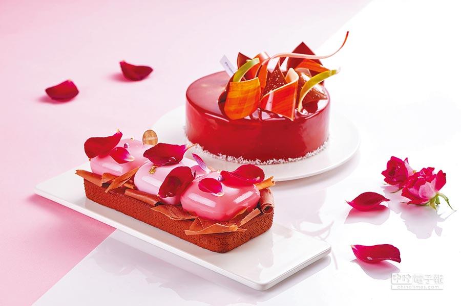 台北福華大飯店今年推出2款母親節限定蛋糕「隱藏的愛」和「花樣年華」。(台北福華大飯店提供)