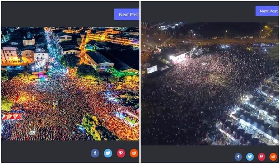 左圖為選前在鳳山的造勢大會,大家都坐椅子,一格一格的,密度比較高。右圖為27日挺韓大會的空拍圖,人氣也很旺。(翻攝自PTT)
