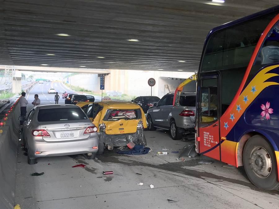 桃园国际机场往国道2号方向28日上午6时15分左右发生游览车与计程车、自小客车连环追撞车祸,其中计程车车体严重凹陷,所幸无人伤亡,车祸意外造成出机场方向车流严重回堵,但并未影响到前往机场的搭机旅客。