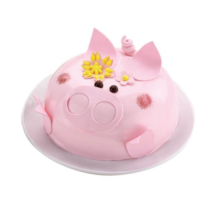 愛買推出母親節蛋糕預購活動,共近20款蛋糕選擇。(圖為一之軒粉紅豬造型蛋糕。圖:愛買提供)