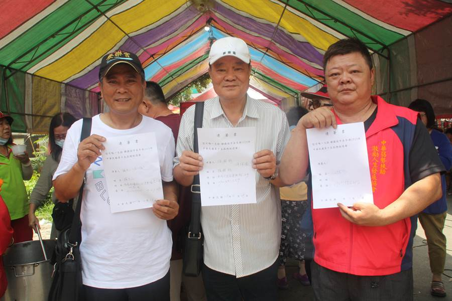 理事長汪拓谷、強強滾、文山伯(右至左)。(資料照林雅惠攝)
