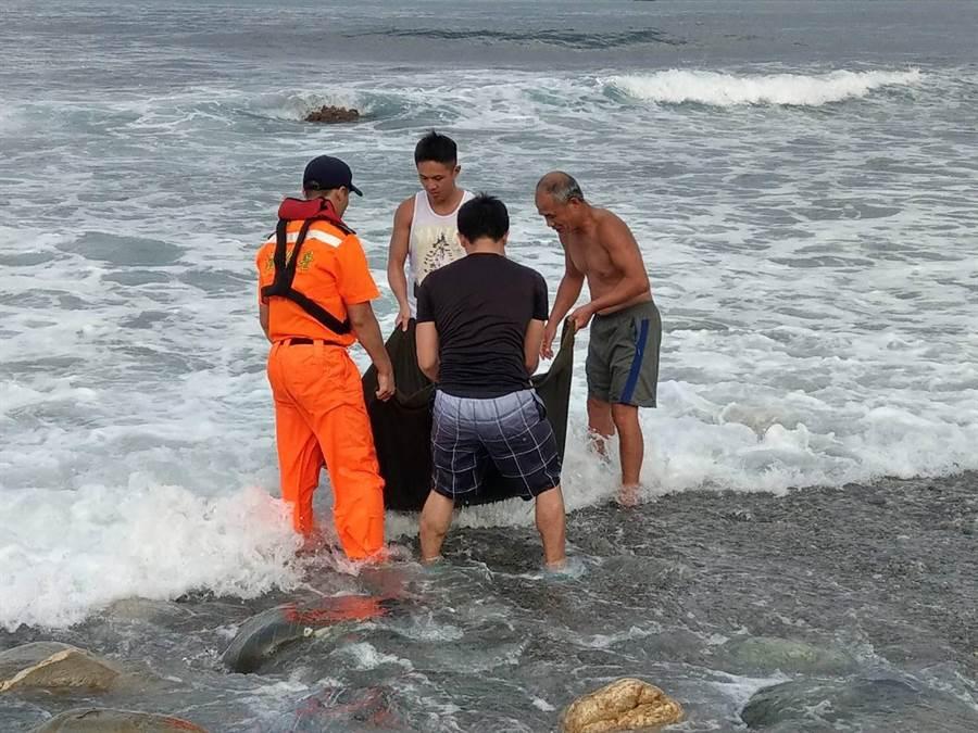海巡人員與民眾一起將擱淺鯨豚救上岸。(海巡提供)