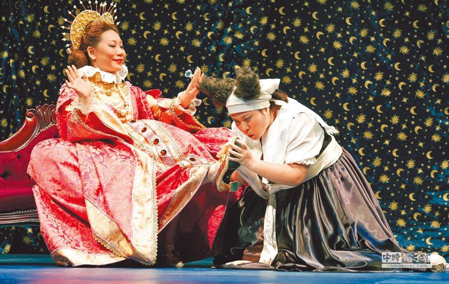 鍾欣凌(右)在舞台劇飾演白雪公主的僕人,劇中最常向郎祖筠飾演的皇后下跪。