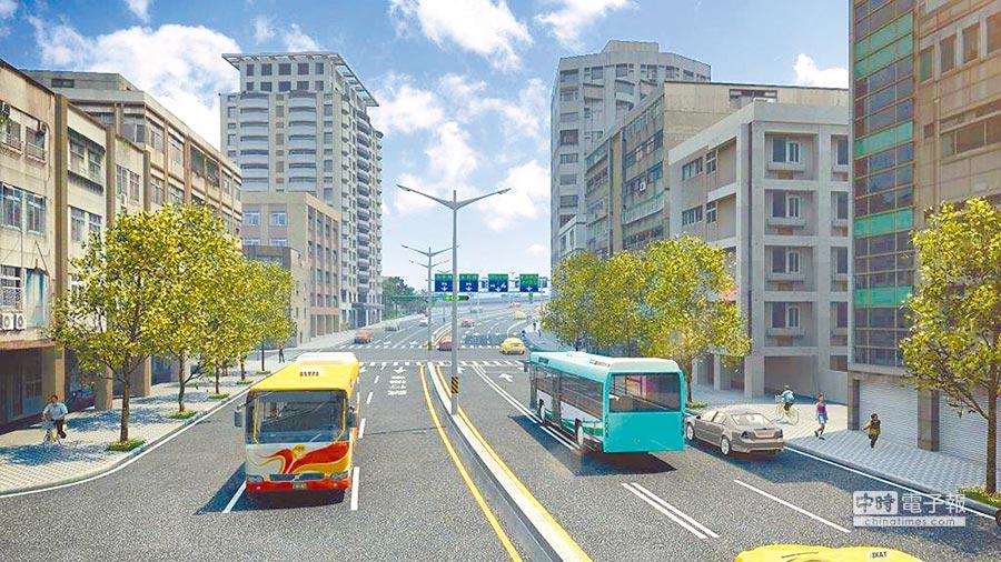 中正橋改建工程完工模擬示意圖。(台北市政府工務局新建工程處提供)