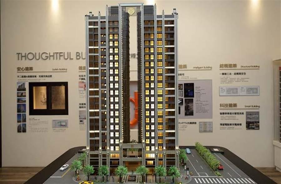 「璽來登」規劃兩棟地上21層,訴求飯店精品宅。(圖/易繼中攝)
