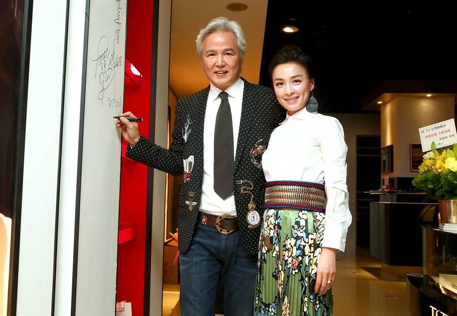 林瑞陽、張庭前年回台出席自創品牌保養品開幕記者會。(本報系資料照,粘耿豪攝)