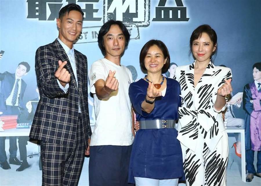 鍾承翰(左起)、導演林立書、製作人陳慧玲及天心。(粘耿豪攝)
