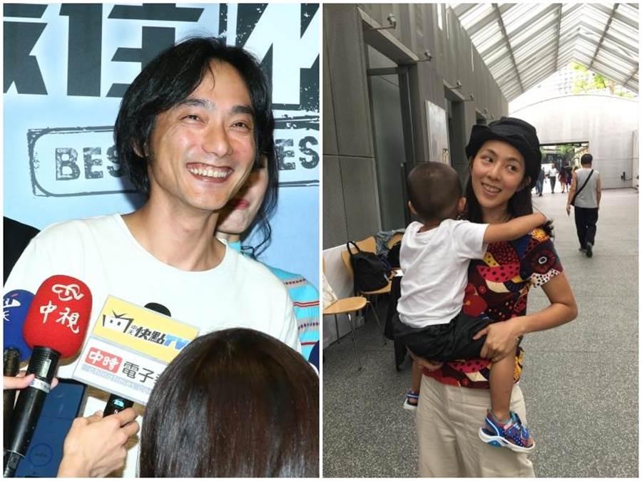 導演林立書的演員女友林辰唏帶著3歲兒子在場外加油打氣。(洪秀瑛攝)