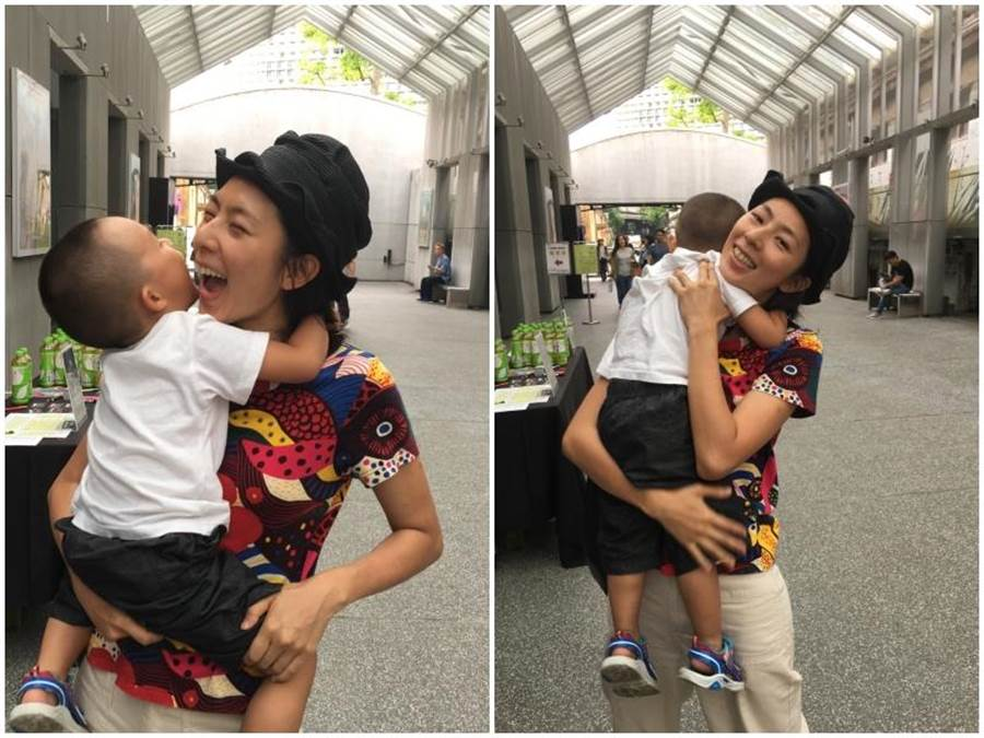 林辰唏和3歲兒子玩得開心。(洪秀瑛攝)