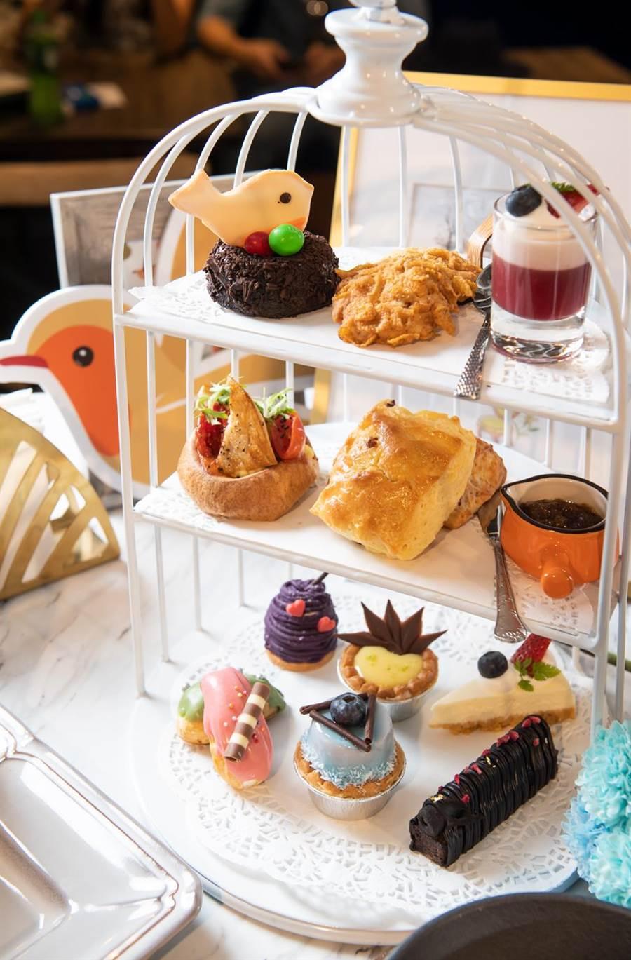 以品牌「知更鳥」意象打造的「皇室的秘密」3層下午茶甜點。(Engolili提供)