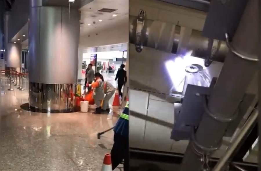 才第一波梅雨鋒面,桃機二航廈的雨水排水管封口處大量漏水。(中天新聞)