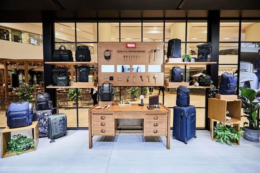 TUMI Loft體驗館不只陳列商品,也有手稿、製作展示與DIY體驗。(TUMI提供)