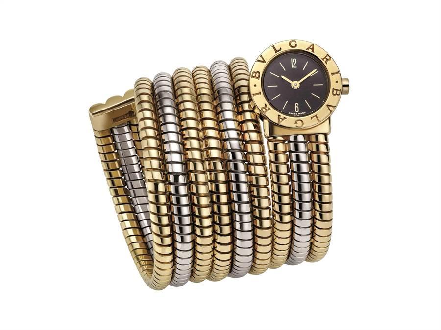 宝格丽Heritage典藏系列Serpenti Tubogas黄金手镯腕表。
