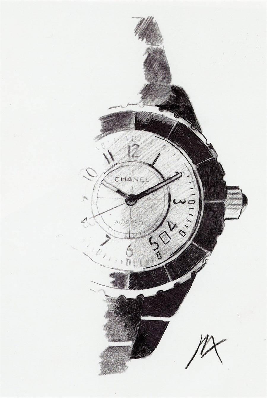 香奈兒J12誕生於2000年,此為當時的設計草圖,經典外觀歷經20年不變。(CHANAL提供)