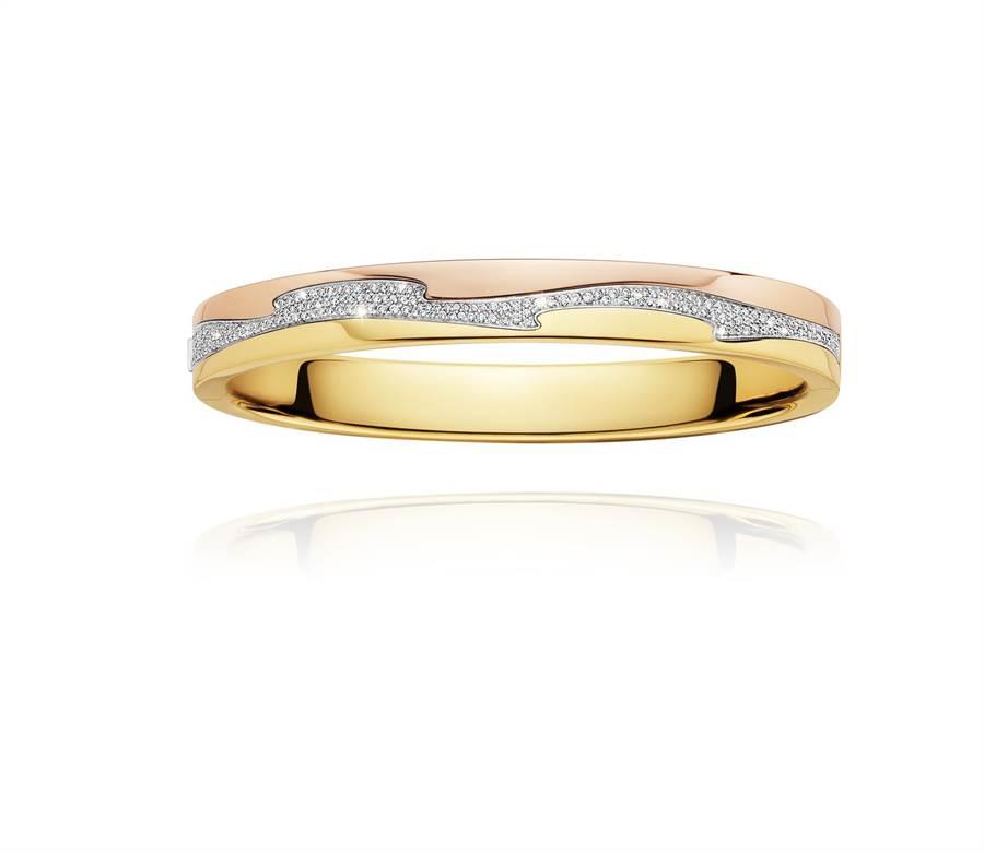 喬治傑生FUSION 18K金鑽石手鐲,52萬5000元。 (GEORG JENSEN提供)