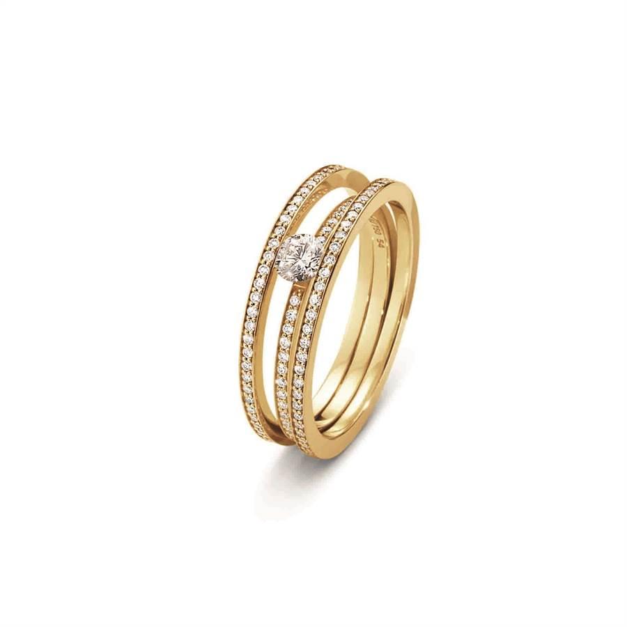 喬治傑生「光環」(HALO)系列18K黃金鑽戒,鑲嵌單顆美鑽,價格請店洽。 (GEORG JENSEN提供)
