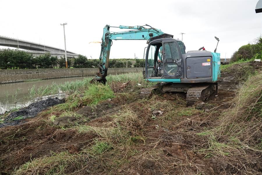 大型機具在鹿港抽水站出海口清除雜草與淤泥。(吳敏菁攝)
