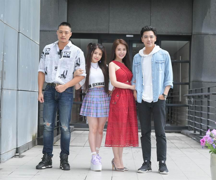 王岳峰(左起)、林吟蔚、陳子玄、溫哲軒出席新戲記者會。(三立)
