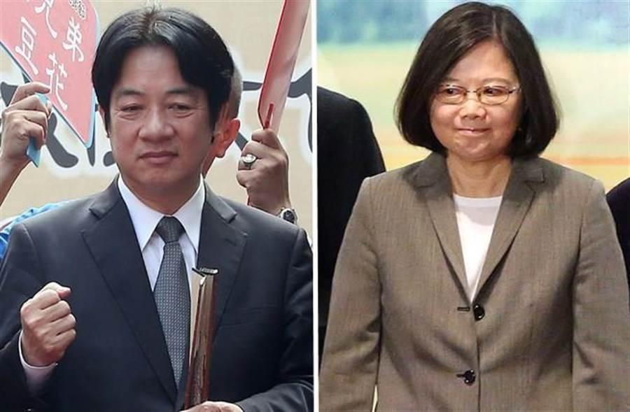 左為前行政院長賴清德,右為總統蔡英文。(本報系資料照片)
