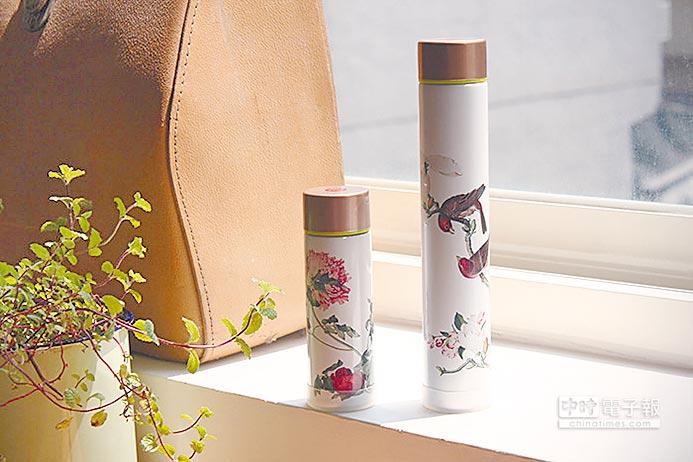 郎世寧〈畫仙萼長春〉系列口袋瓶。