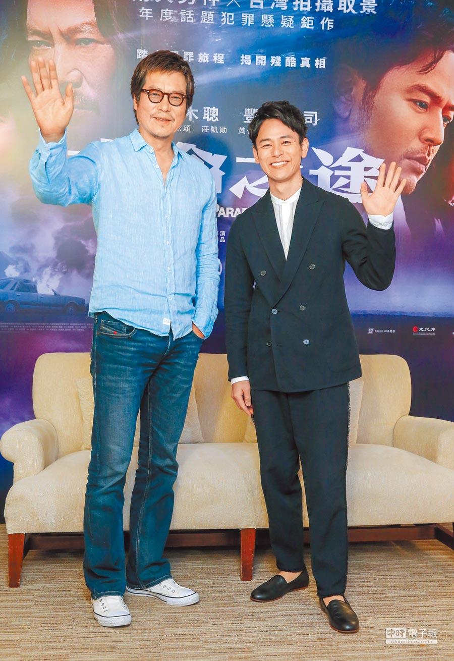 豐川悅司(左)昨和妻夫木聰暢談來台拍攝經驗。(盧禕祺攝)