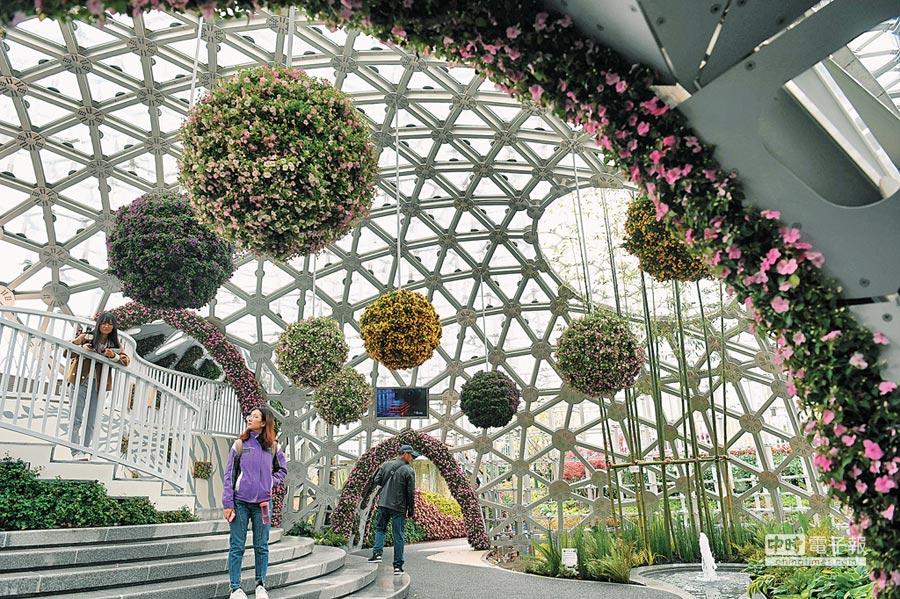 遊客在北京世園會的上海園遊覽。(新華社資料照片)