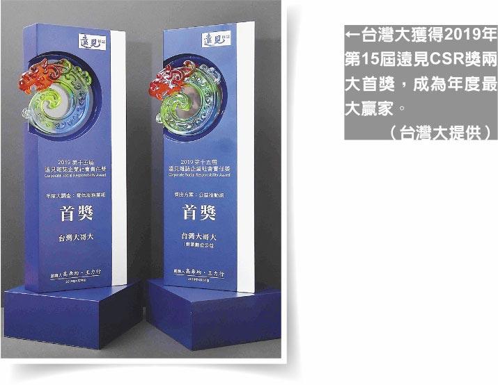 台灣大獲得2019年第15屆遠見CSR獎兩大首獎,成為年度最大贏家。(台灣大提供)