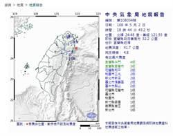 18:44宜蘭近海4.8有感地震  最大震度4級