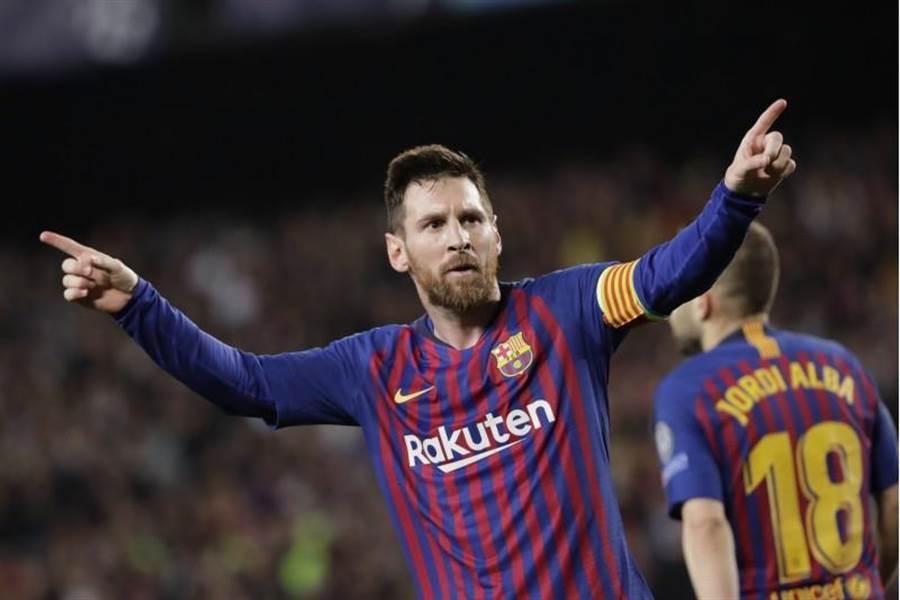 梅西兩度攻破利物浦大門,幫助巴薩以3比0勝出。(美聯社)