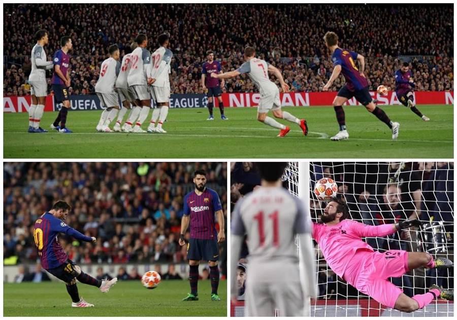 梅西在第82分鐘踢進直接自由球,利物浦門將阿利森(右下)撲救不及。(路透)