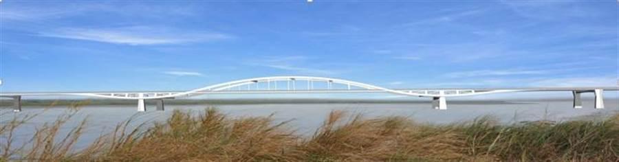 台中市與彰化縣政府合作推動「台中大肚-彰化和美跨河橋梁計畫」,大肚和美大橋模擬圖。(陳世宗翻攝)