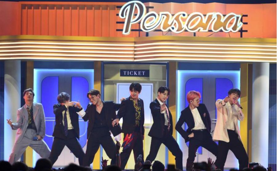 BTS在Billboard音樂獎上表演。(翻攝自網路)