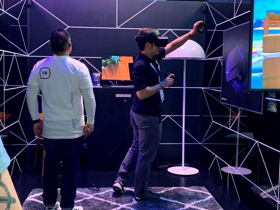 Facebook F8 大會中提供參與者實際體驗 VR 遊戲的機會。(圖/黃慧雯攝)