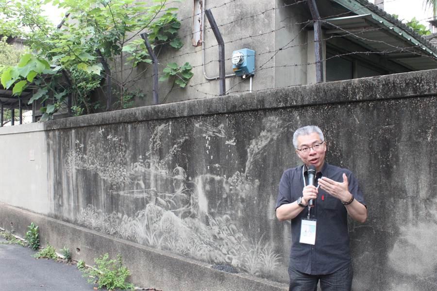 南郭宿舍群在彰師大美術系、南郭國小等投入景觀創作,打造了巷弄美學,轉個彎都有小小的驚喜。(吳敏菁攝)