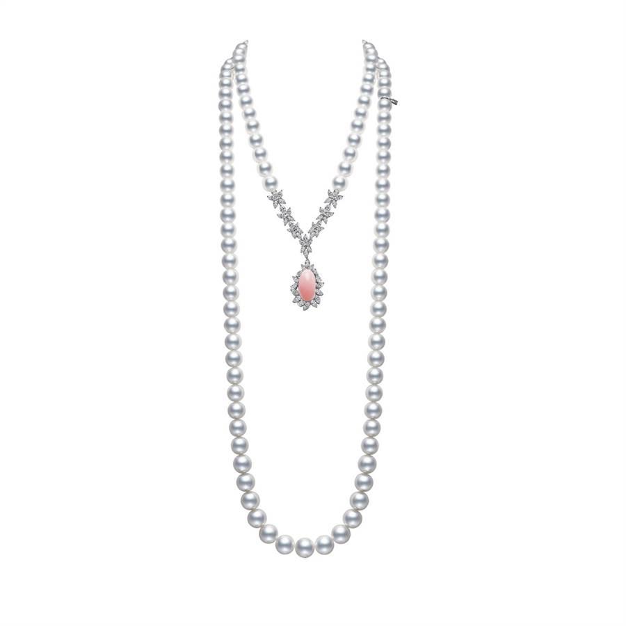 MIKIMOTO Natural Pearl頂級珠寶系列Queen Conch孔克珍珠鑽石項鍊,約1160萬元。(MIKIMOTO提供)