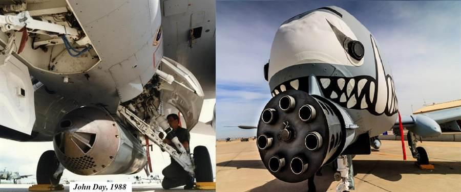 A-10在機首有一具固定的30公釐機砲,而F-16則是外掛GAU-5機砲艙,但是精準度很差。(圖/美國空軍、空軍世界)