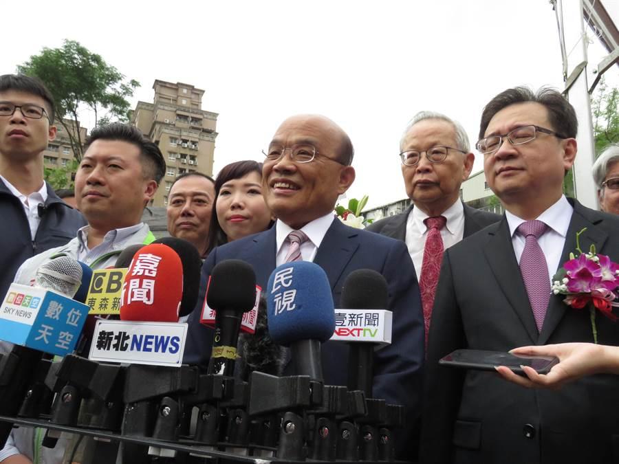 行政院長蘇貞昌今(3日)上午9時許出席雙和醫院B基地動土典禮。(葉書宏攝)