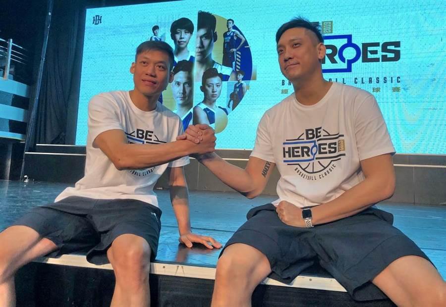 林志傑(左)確定加盟富邦勇士後,將跟效力寶島夢想家的田壘成為對手。(報系資料照)
