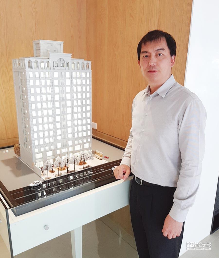 「MY雋」銷售楊總監表示,該案規劃用心、提升建材配備,興建地上14樓、地下4樓,共70戶。圖/王妙琴